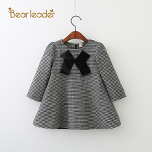 Bear Leader Girls Dress 2017 New Autumn Brand Girls Clothes White And Black Plaid Bowknot Design Baby Girls Dress For 3-7 Years(China)