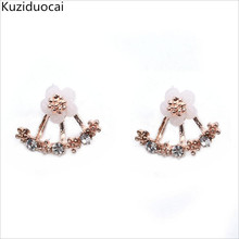 New Hot !!! Fashion Fine Jewelry Rose Gold Color Neckband Rhinestones Shell Daisy Flowers Romantic Stud Earrings For Women E-87