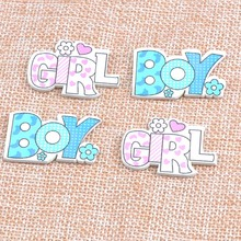 no Holes blue/pink Boy and Girl painted Wood Handmade Buttons For Scrapbooking Craft 20pcs 21x35mm MT1552(China)