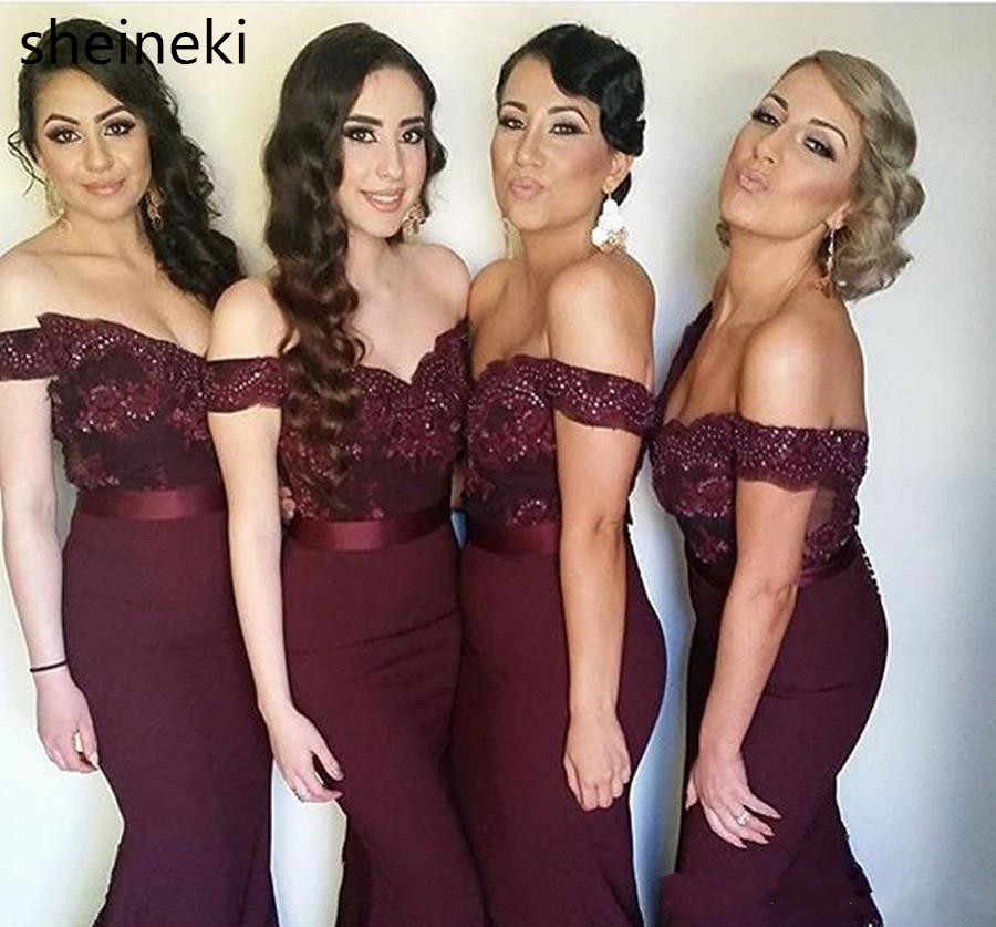 fb3ac7f25f57 Detail Feedback Questions about Cap Sleeves Burgundy Long Mermaid  Bridesmaid Dresses Off Shoulder Applique Lace Wedding Guest Dresses vestido  longo madrinha ...