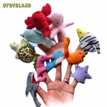 UTOYSLAND 10Pcs Soft Plush Marine Animal Finger Puppet Set Children story Telling Helper Hand Puppet Dolls