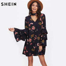 SHEIN Tiered Flare Sleeve Choker Neck Swing Dress Multicolor Cut Out Back Layered Sleeve V Neck A Line Floral Dress(China)