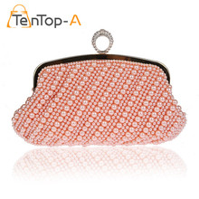 TenTop-A Elegant Both Side Pearls Beaded Striped Finger Ring Evening Dinner Bags Diamond Banquet Bridal Purse Day Clutch Handbag