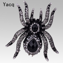 YACQ Spider Stretch Ring Halloween Party Gothic Jewelry Gifts Decorations For Women Girls Her Antique Silver Black Dropshipping(China)