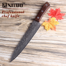 XITUO 8 inch chef knife new damascus steel Pattern color wood handle Japanese kitchen knife handmade Multi Cleave Cooking tools