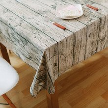 Wholesale Vintage Wood Grain Table Cloth Simulation Patterned Rustic Bark Tablecloth Rectangle Table Cover Washable Decoration