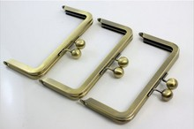6 x 3 inches (15 x 7.5 cm) - Antique Brass Clutch Purse Frame with Ball Clasp 10Pcs/lot