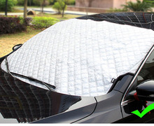 Aluminum+Cotton Car Snow Cover Auto Half Size Front Window Visor Sun Blind Screen Windscreen Ice Frost Visor AllSeason Protector(China)