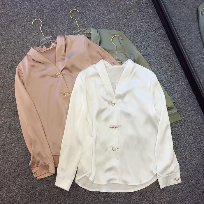2017 Sale Women Blouses South Korea V Spring Collar Texture Metal Buttons Ol Ladies Slim Sleeved Chiffon Shirt Commuting Female
