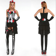 2017 Adult Skeleton Day of The Dead Costume Women's Sexy Sugar Skull Dia Flower Fairy Halloween ghost vampire Bride Fancy Dress