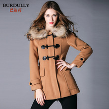 women's Wool coat luxury & elegant original brand fur collar overcoat comfortable loose with zipper ladies clothes plaid lining