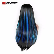 Wignee 5 Clip In Hair Extension Heat Resistant Synthetic Fiber Mixed Colorful Grey/Blue Halloween Hair Piece For Africa American(China)