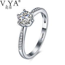 V.Ya Women Jewelry Rings Newly Classic Simple Design 6 Prong Sparkling Solitaire CZ Forever Wedding Rings Bijoux Birthday Gift's
