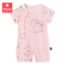 Tinsino Summer Newborn Baby Short Sleeves Rompers Cotton Girls Boys Cartoon Swan Jumpsuits Clothing For Infant Toddler Clothes