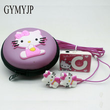 2017 New Mini Clip Hello Kitty MP3 Music Player Support TF Card With Hello Kitty Earphone hello kitty bag and cable(China)