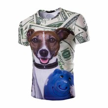 2017 new men's self-cultivation 3D three-dimensional dog head dollar printing round neck short T-shirt breathable