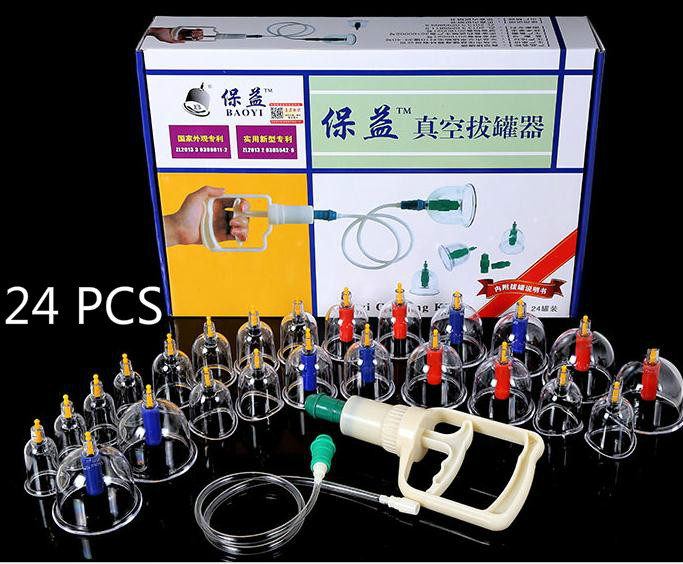 24 PCS vacuum magnetic therapy of household gas type cupping apparatus can pull tanks containing joint of cupping therapy<br>