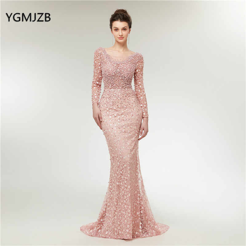 Luxury Evening Dresses 2019 Mermaid Long Sleeves Pearls Lace Embroidery  Pink Women Formal Party Gown Prom 94c6b83341a9