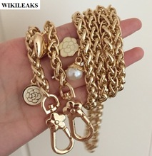 Strap gold plated metal chain shoulder straps flower ladies purse handles belt handbag hook clutch buckle accessories pearl love