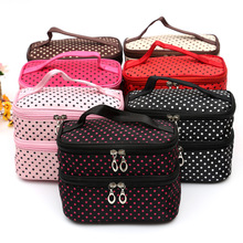New Double Layer Cosmetic Make Up Bags Cute Dots Multifunctional Storage Bags Package