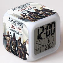 Game Figurine Assassins Creed Juguetes LED Alarm Clock Colorful Changing Touch Light Hidden Blade Movie Figure Toys