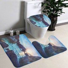 3Pcs/set Soft Starfish Pedestal Rug Non-slip Bath Mat Bathroom Carpet Shark Pedestal Lid Mat Cute Toilet Rug Sunset BM0603