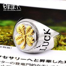 Beier new store 316L Stainless Steel For Men Women Rings GOOD LUCK Rings Couple Vintage Men Jewelry LLBR8-465R(China)
