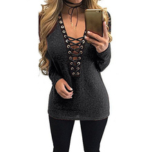 Zanzea Sexy Women Blouse 2017 Lace Up V neck Batwing Sleeve Spring Tops Shirts Casual Party Blusas Femininas Black(China)