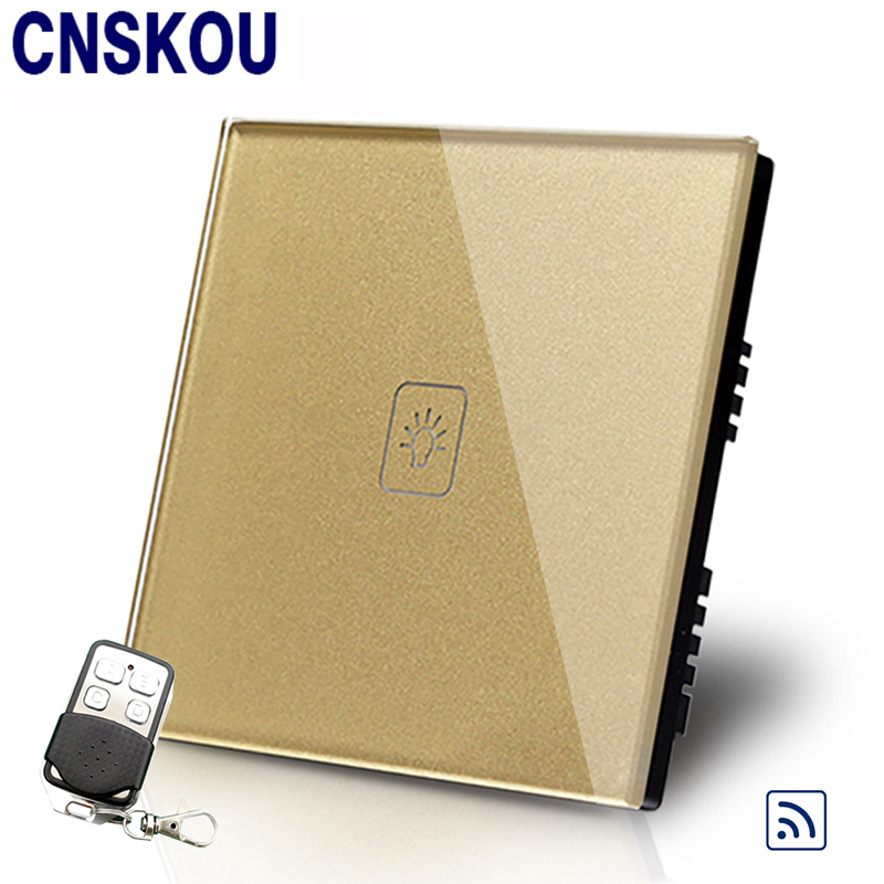 Cnskou UK Standard 1Gang1Way  220V Remote Touch Switch For Controller Golden Crystal Glass Panel Touch Sensor Switch Factory<br>