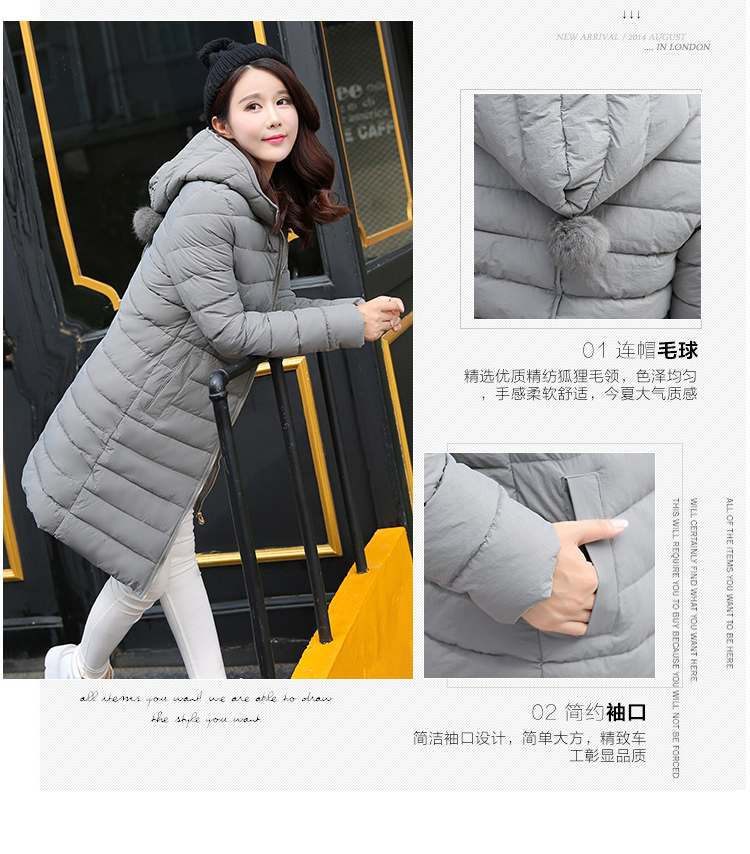 Winter Jacket Women  Cotton Medium Hooded Warm Parkas 2017 New Girls Padded Slim Outwear