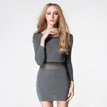 2017 women spring autumn winter sweater dresses O-Neck knitted dress sexy bodycon solid dress full sleeve Free shipping Newest
