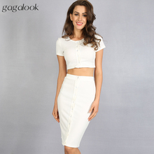 Gagalook 2016 Brand Summer Women Suits 2 Two Piece Crop Top and Skirt Set Black White Midi Pencil Skirt Suit D0664