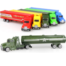 1/32 Die cast Car alloy & ABS Engineering vehicles car model toy oil Tank Container truck mini toys for children kids gifts new(China)