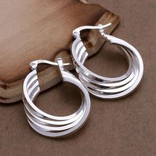Free Shipping fashion jewerly silver plated earrings Four Ring hoop earing brincos de festa collier plastron femme  jewellry