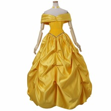 Custom Made Women's Dress Beauty And Beast Princess Belle Yellow Dress Cosplay Costume for Carnival Party