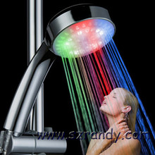 2016 3 Color RGB LED Shower Head Handheld Sprinkler Temperature Sensor Ducha Rain Showers Heads Base Power Hotels Douche Set(China)