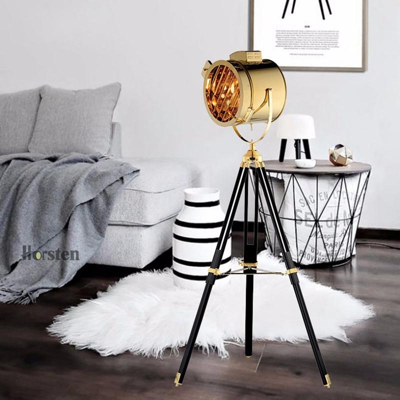 Industrial Bar Nordic American Creative Studio Silver Golden Floor Lights Tripod Searchlight Floor Lamps E27 (3)