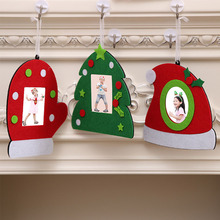 Non-woven Christmas Photo Frame Picture Holder Frame Xmas Tree Ornaments Gift Home Decor(China)