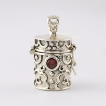 Sterling Silver Retro Red Crystal Prayer Box Charm Pendant Locket - no chain A2101