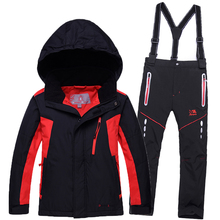 Children ski suit outdoor winter boys girls outdoor clothes waterpfoof windproof kids snow jacket +bib pants 2 pcs clothing set