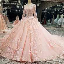 Buy LS12585 Pink wedding gown 2018 zipper back 3D flowers organza ball gown long wedding dresses sale real photos quick for $723.17 in AliExpress store