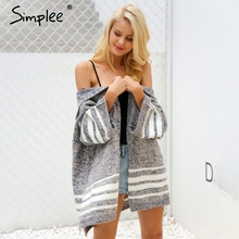 Simplee Hooded knitting sweater cardigan female Flare sleeve loose striped jumper New 2017 casual autumn winter sweater women(China)