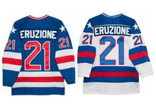 Men's #21 Mike Eruzione 1980 Miracle On Ice USA Hockey UNSIGNED CUSTOM Jersey WHITE and BLUE