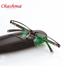 2017 ENW Titanium Alloy Quality Multifocal lenses Reading Glasses Men Fashion Half Rim Progressive Glasses Square diopter glasse(China)