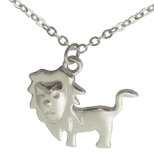 lion pendant necklaces silver plated tiny lion Charm Personalized Stamped Initial Nature Animals Charm Monogram Necklace 2017(China)