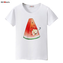 BGtomato Printing Watermelon teddy bear T shirts woman's summer short sleeve casual tops good quality comfortable tee shirts(China)