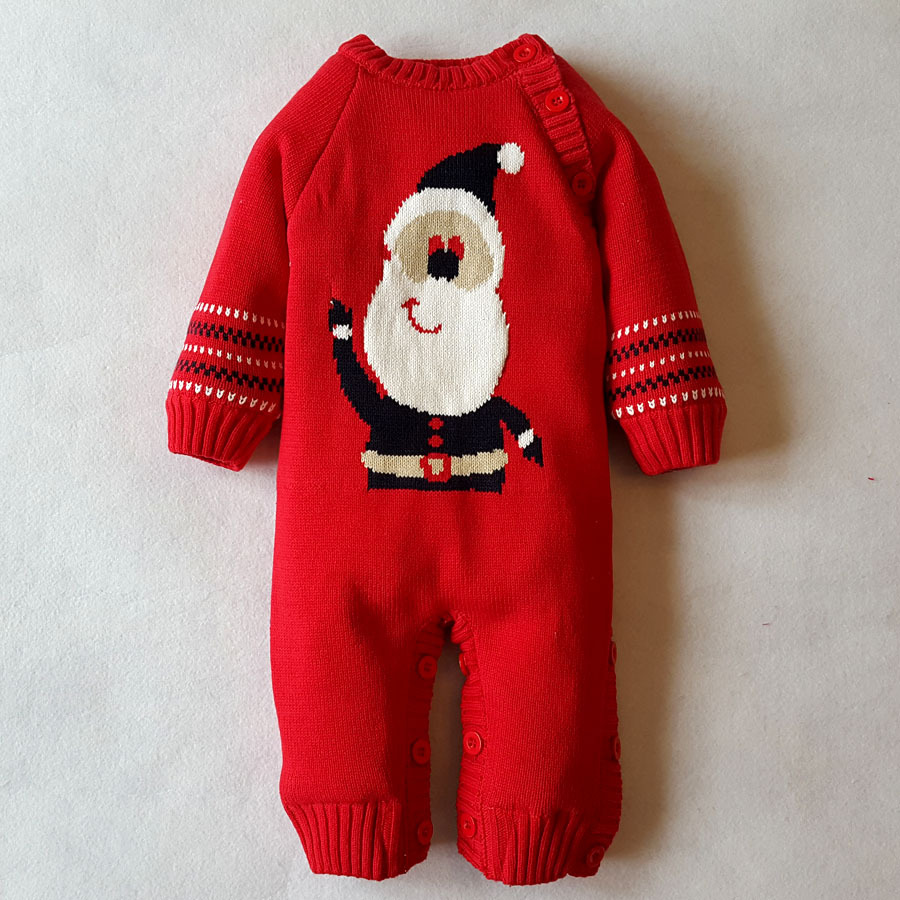 baby rompers infant boys girls Christmas clothes newborn winter warm knitted sweater rompers plus velvet  jumpsuit <br>