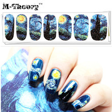 M-theory Adhesive Nails Wraps Stickers Van Gogh Starry Night 3D Nails Arts Polish Sticker Gel varnish Decals Nails Makeup Tools