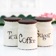 three-piece ceramic canister set with wooden lid sealed cans tea/coffee/sugar jar home storage bottles kitchen supplies