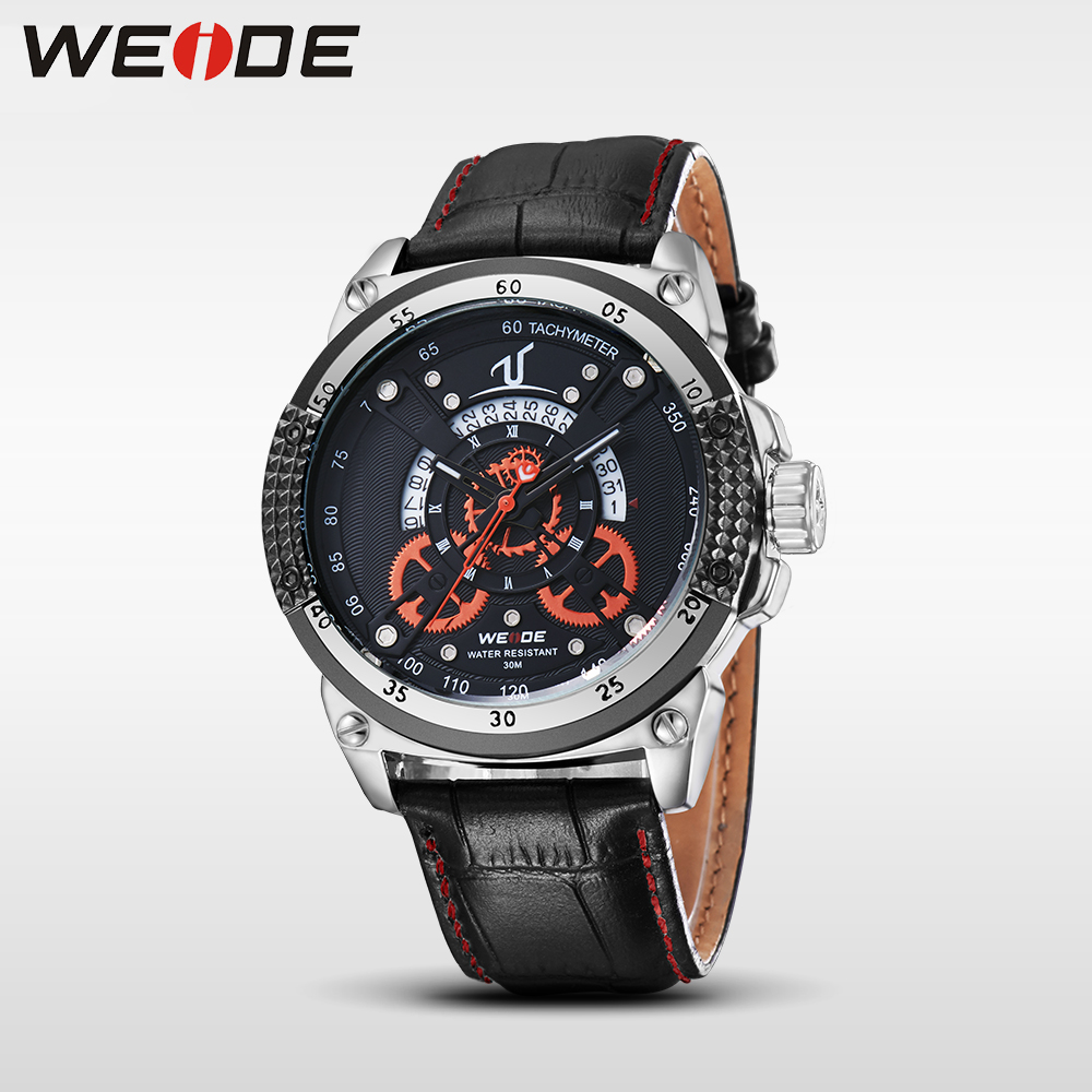 WEIDE leather quartz sports wrist watch casual genuine men water resistant mehanical hand wind analog luxury clock saat relojes<br>